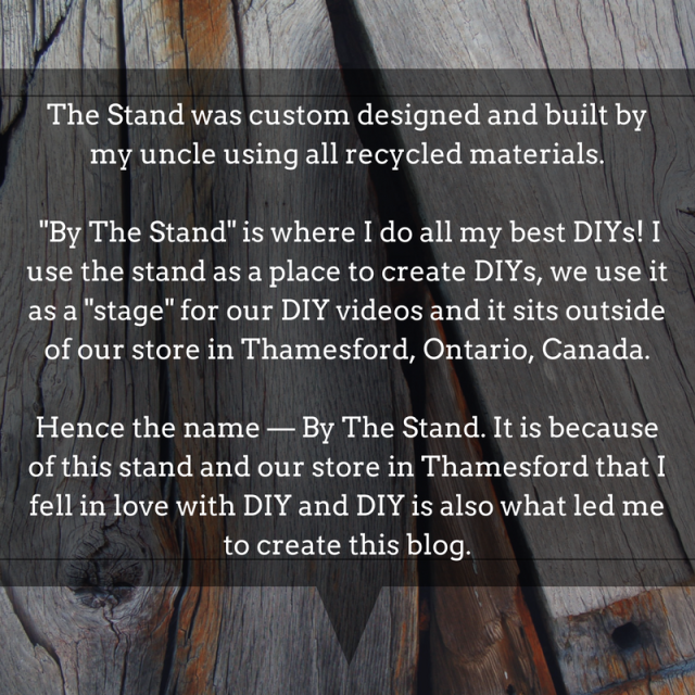 The Stand was custom designed and built by my uncle using all recycled materials. -By The Stand- is where I do all my best DIYs! I use the stand as a place to create DIYs, we use it as a -stage- for our DIY video.png